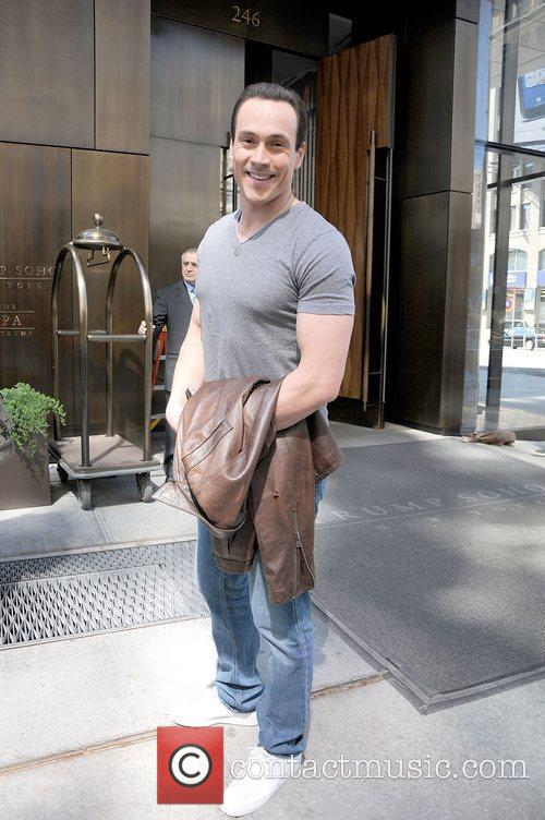 Chris Klein leaving his downtown hotel in Manhattan.