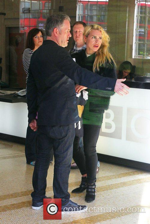 Chris Moyles and Billie Piper outside the BBC...
