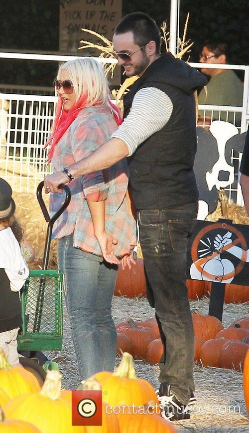 Christina Aguilera enjoys a day at Mr. Bones...