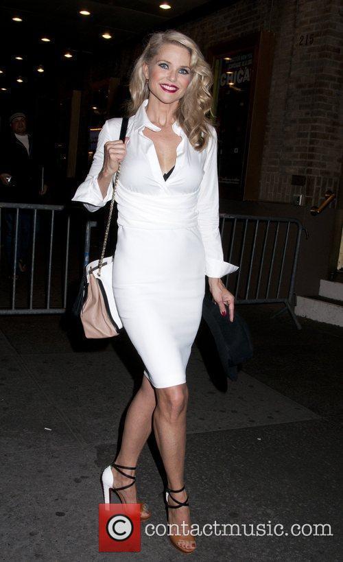 Christie Brinkley outside the Ambassador Theater having performed...