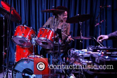 American jazz and rock drummer performing live at...
