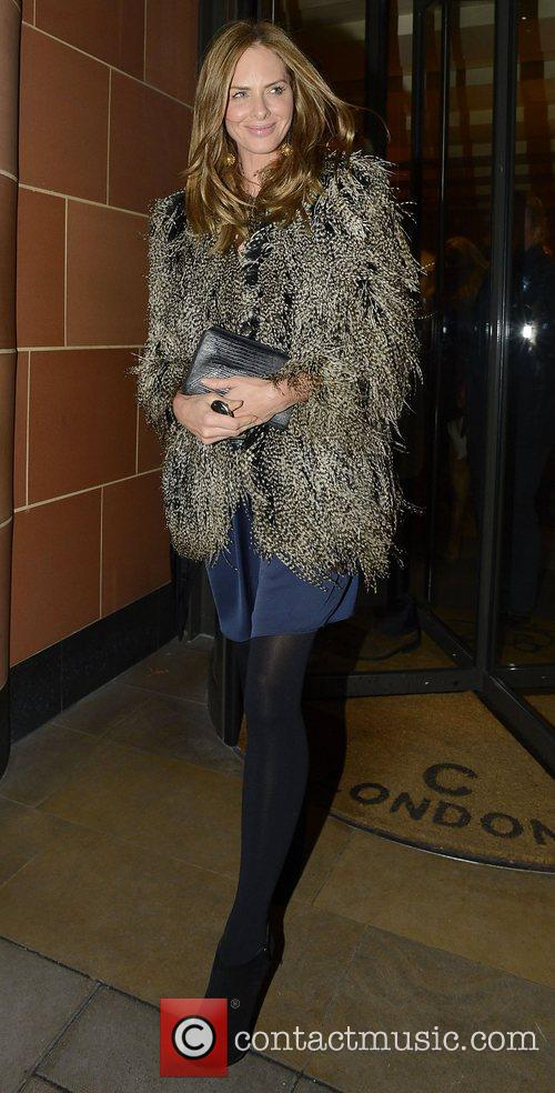 Trinny Woodall wearing a feather coat at C...