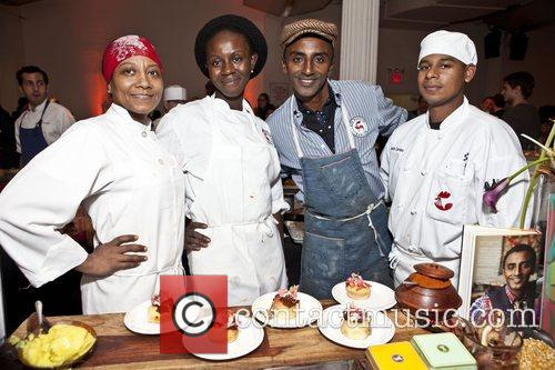 Chef Marcus Samuelsson and staff City Harvest's 18th...