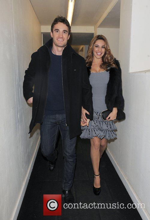 Kelly Brook and her boyfriend Thom Evans leaving...