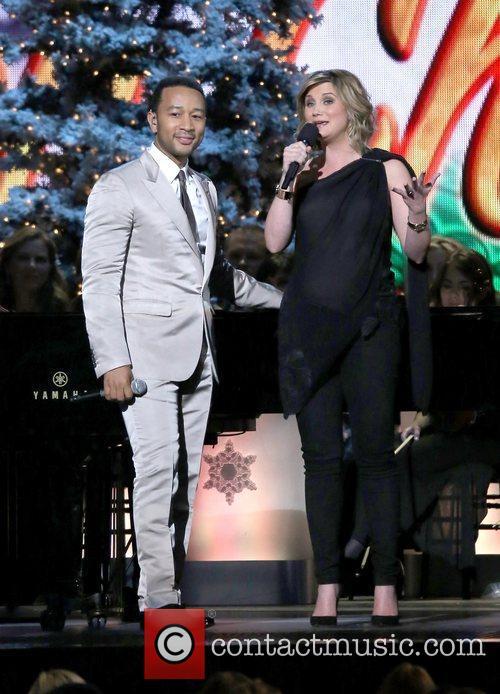 John Legend and Jennifer Nettles performing at the...