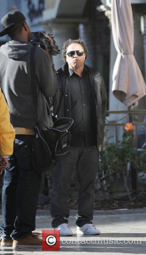 Ex-LA Galaxy star Cobi Jones seen filming at...