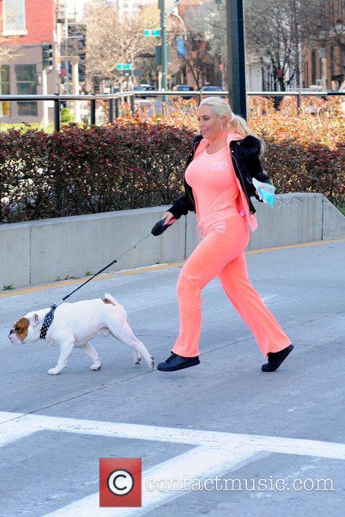 Coco Austin walking her dog Spartacus in Manhattan...