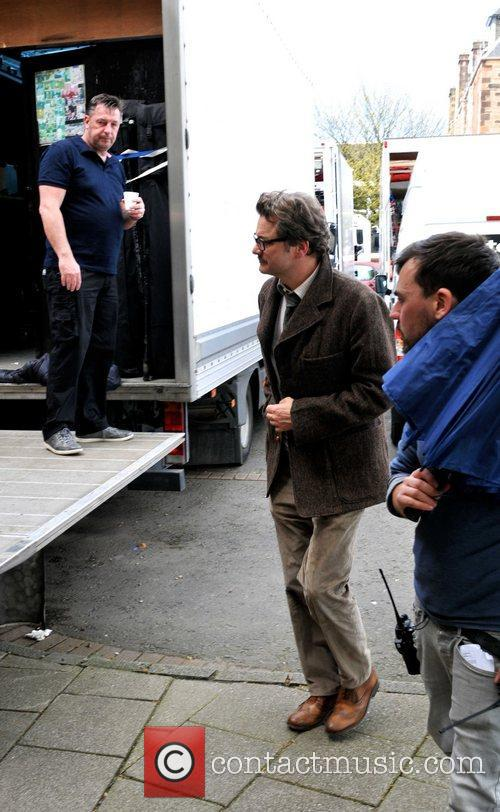 Colin Firth  arriving on the film set...