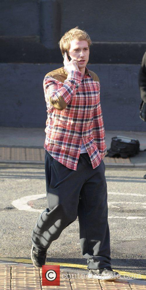 Chris Fountain 'Coronation Street' cast outside Granada Studios...