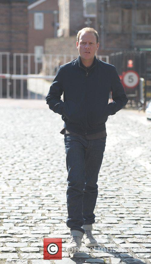 Antony Cotton  'Coronation Street' cast outside Granada...