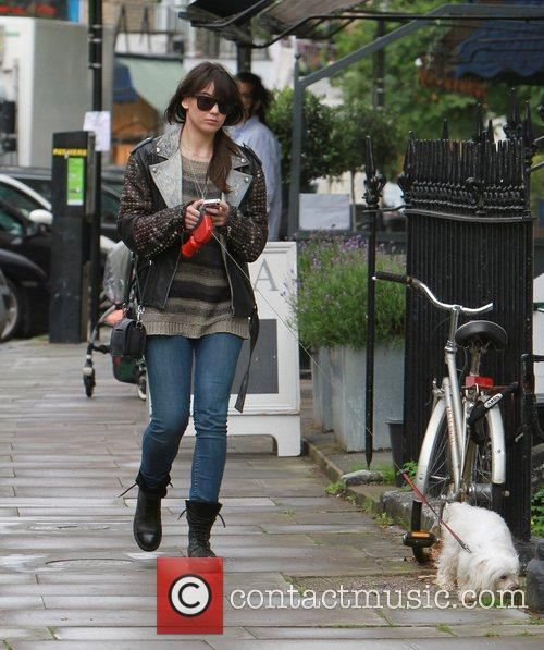 Daisy Lowe out walking her Dog in Primrose...