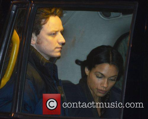 James McAvoy and Rosario Dawson on the set...