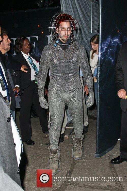 David Blaine dressed in a chain-mail suit ahead...