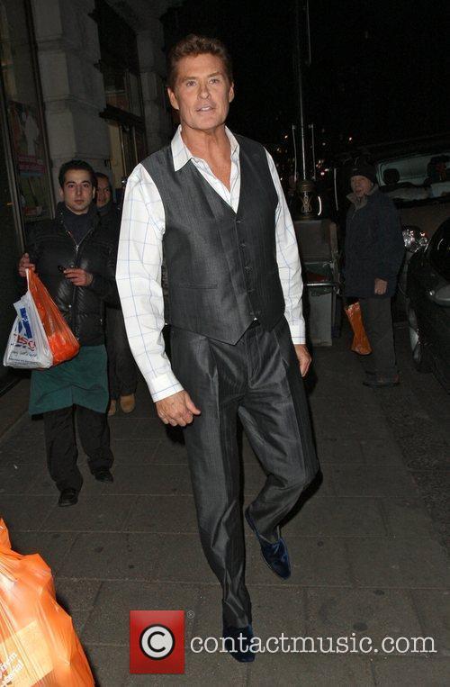David Hasselhoff leaving Sainsbury's in Mayfair and heads...