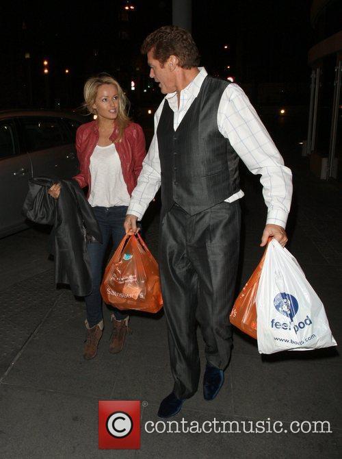 David Hasselhoff leaving Sainsbury's in Mayfair where he...