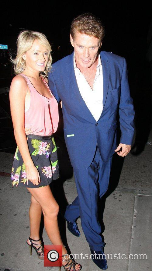 David Hasselhoff with girlfriend Hayley Roberts seen during...