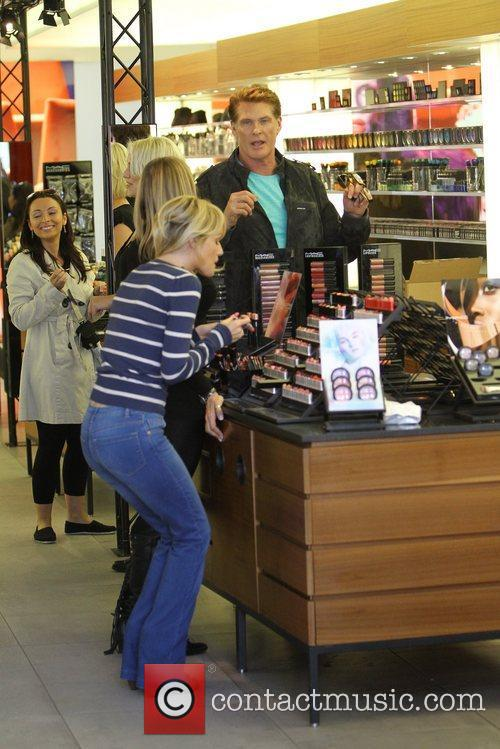 David Hasselhoff and Hayley Roberts shopping in West...