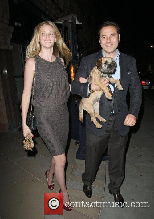 David Walliams and Lara Stone leaving Georges restaurant...