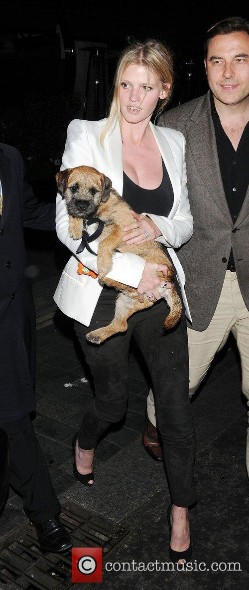 Lara Stone leaving Scotts restaurant,