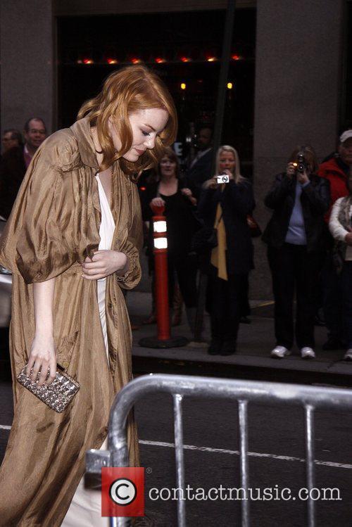 Emma Stone avoiding the press line...