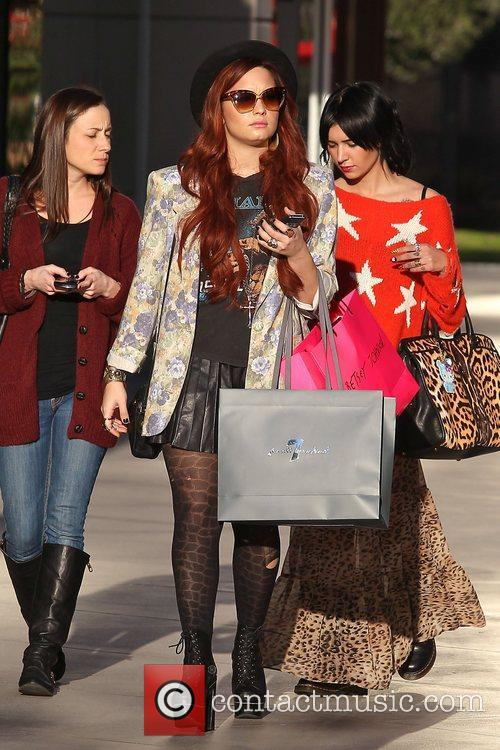 Demi Lovato christmas shopping at Westfield Shopping in...
