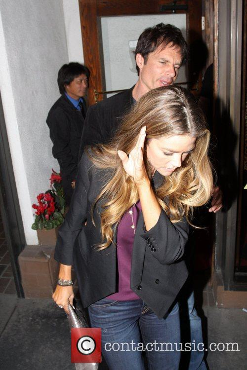 Denise Richards and a friend depart Madeo restaurant