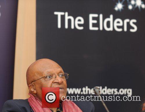 Chairman of the Elders archbishop Desmond Tutu, gestures...