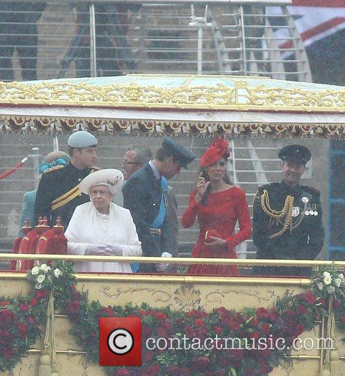 Queen Elizabeth II, Kate Middleton, Prince Harry and Prince William 1