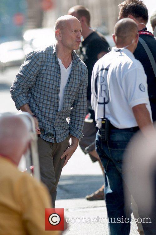 Bruce Willis arrives on the film set for...