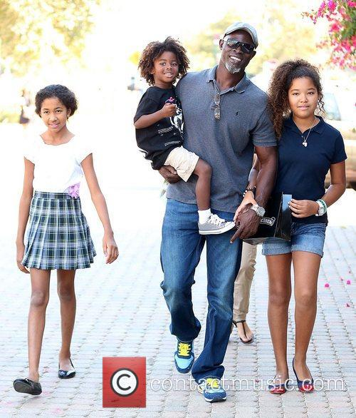 Djimon Hounsou at the Malibu Country Mart with...
