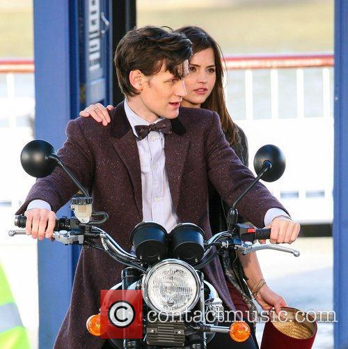 Matt Smith and Jenna-Louise Coleman on a motorcycle...
