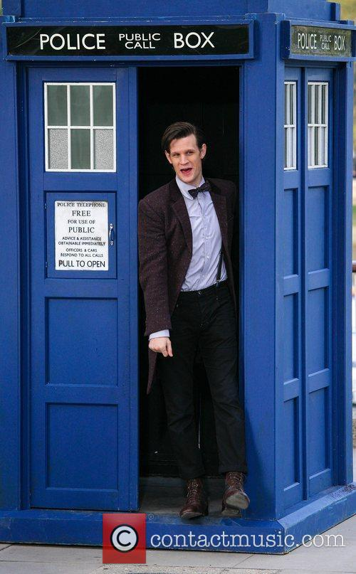 Matt Smith exits the Tardis The cast of...