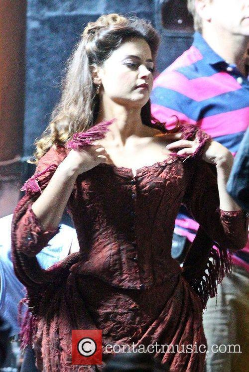 Jenna-Louise Coleman filming the BBC Christmas Day special...