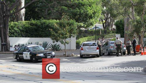 Police pressence and a road block for the...