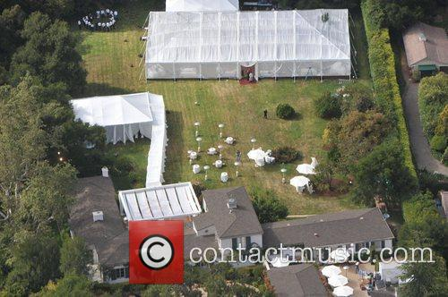 Aerial view of the wedding of Drew Barrymore...
