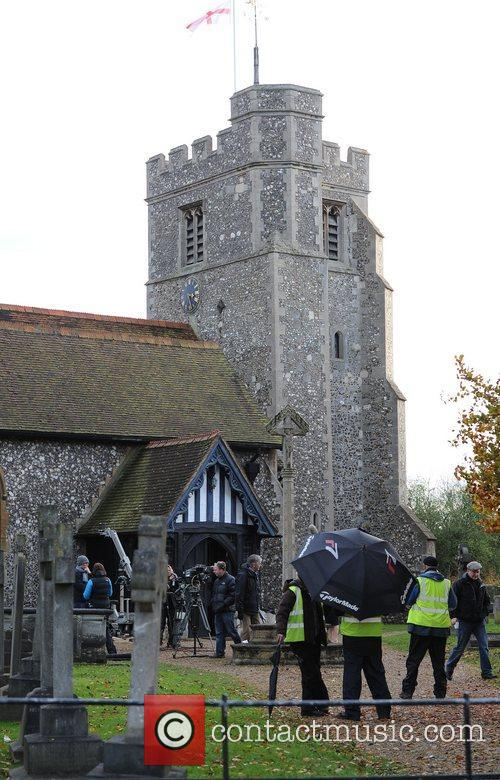 Atmosphere 'Eastenders' cast filming scenes at a Church...