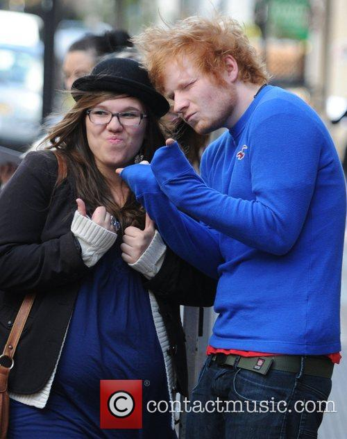 Ed Sheeran with a fan outside the BBC...