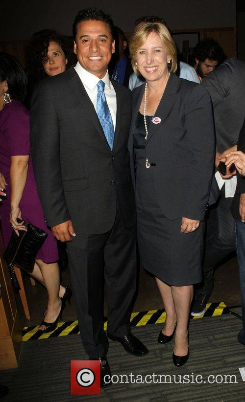 Jose Huizar, Wendy Greuel during the 2012 Presidential...
