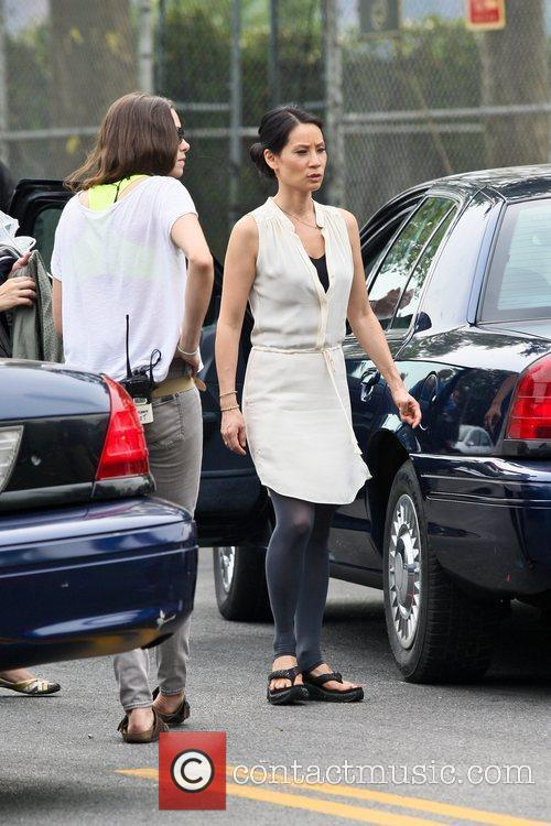 On the set of her new CBS television...