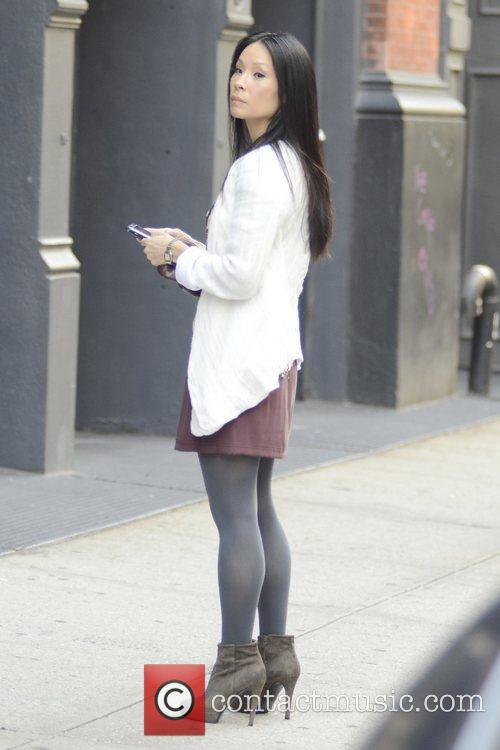 Lucy Liu on the set of ' Elementary'...