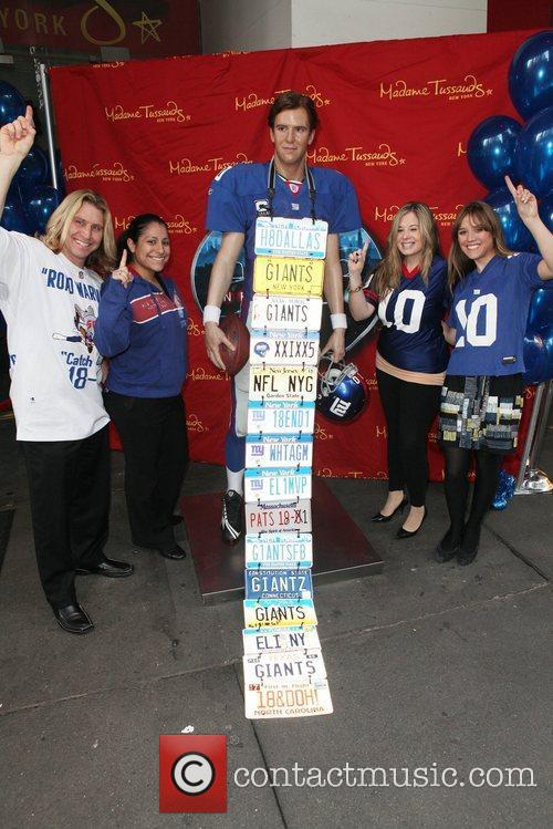 The wax figure of Eli Manning in unveiled...
