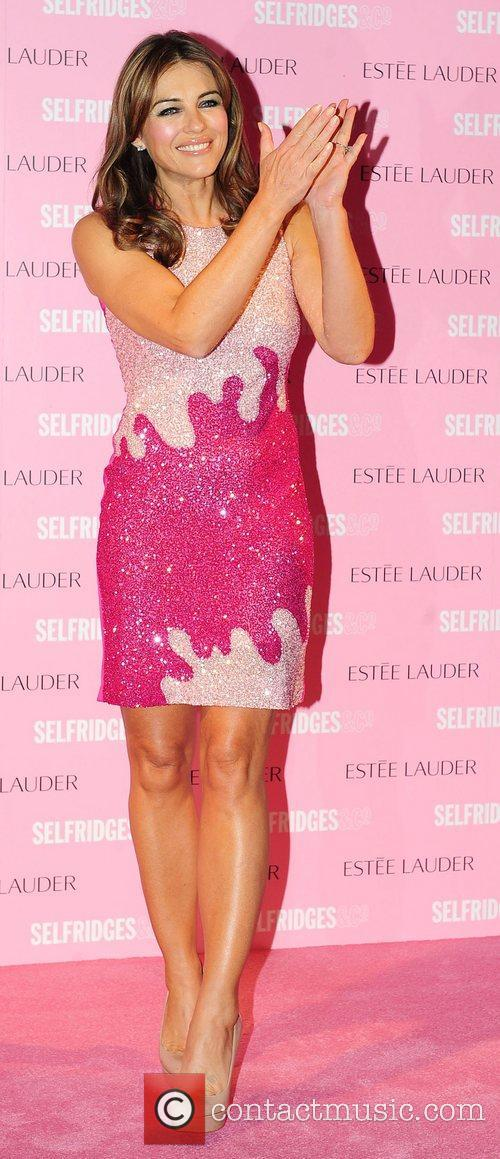At a photocall where she turned Selfridges Pink...