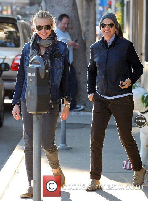 Ellen DeGeneres and Portia de Rossi leave a...