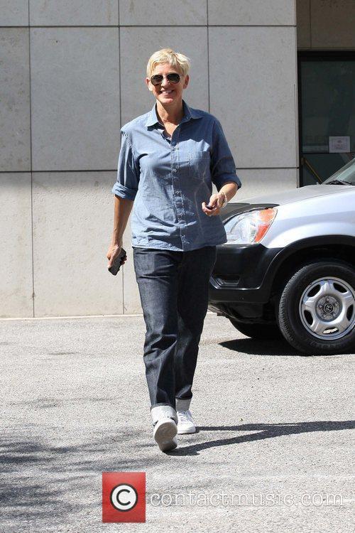 TV personality Ellen DeGeneneres is seen heading to...