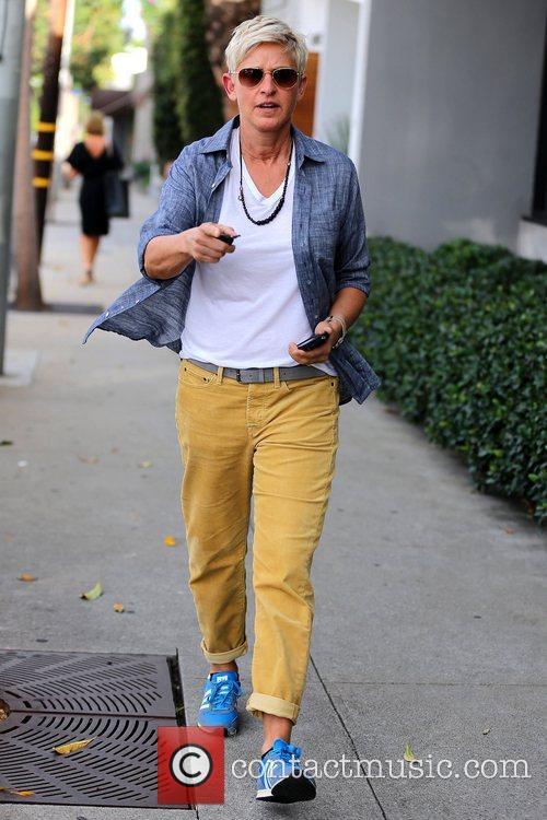Ellen DeGeneres  exits Salon Benjamin in West...