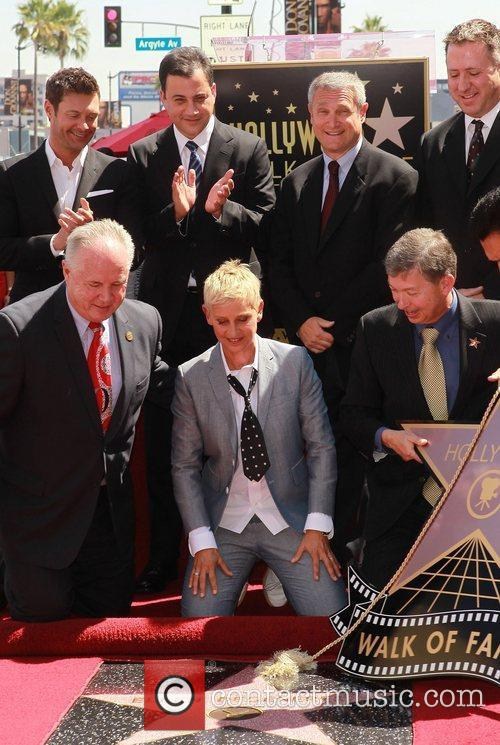 Ryan Seacrest, Ellen Degeneres, Jimmy Kimmel and Star On The Hollywood Walk Of Fame 8