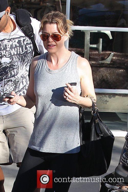 Ellen Pompeo departs a gym in Studio City...