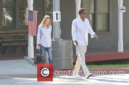 Ellen Pompeo and husband Chris Ivery are seen...