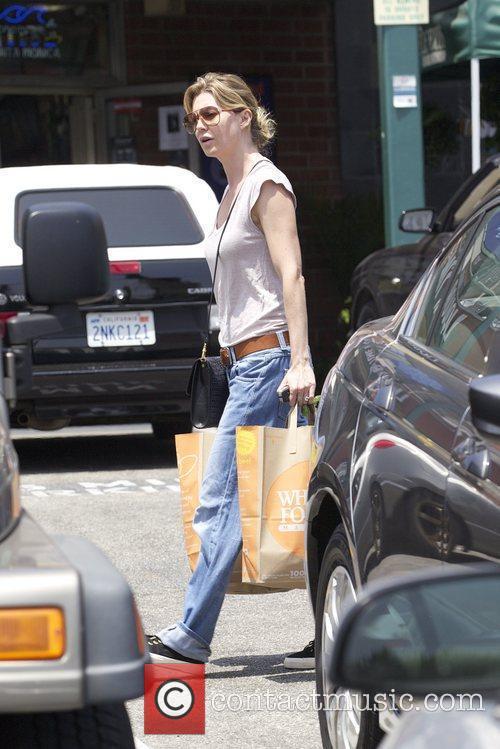 Ellen Pompeo returning to her car after shopping...