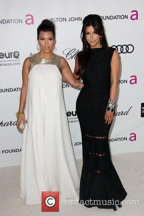 Kim and Kourtney at Elton John's 2012 Oscar Viewing Party